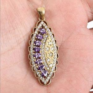Sultan Ottoman Almond Topaz Silver Pendant
